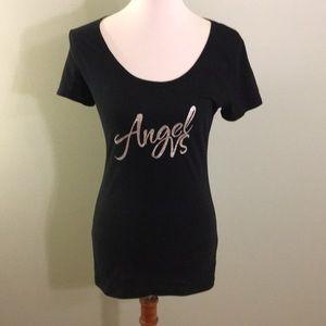 "Black Fitted ""Angel"" T-Shirt Victoria's Secret  M"